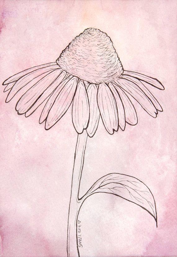 Purple Cone Flower Line Drawing Original Handmade By Esmallart 20 00 Flower Line Drawings Line Drawing Drawings