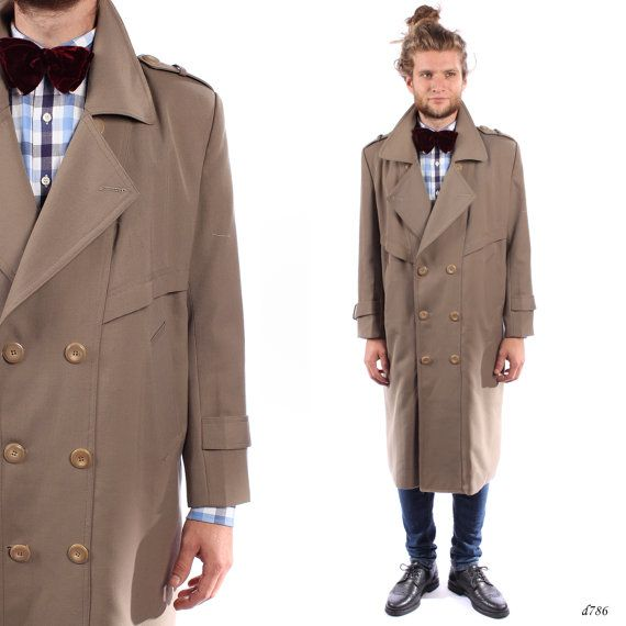 Mens TRENCH Coat . Vintage Double Breasted Brown Mac Coat Retro ...