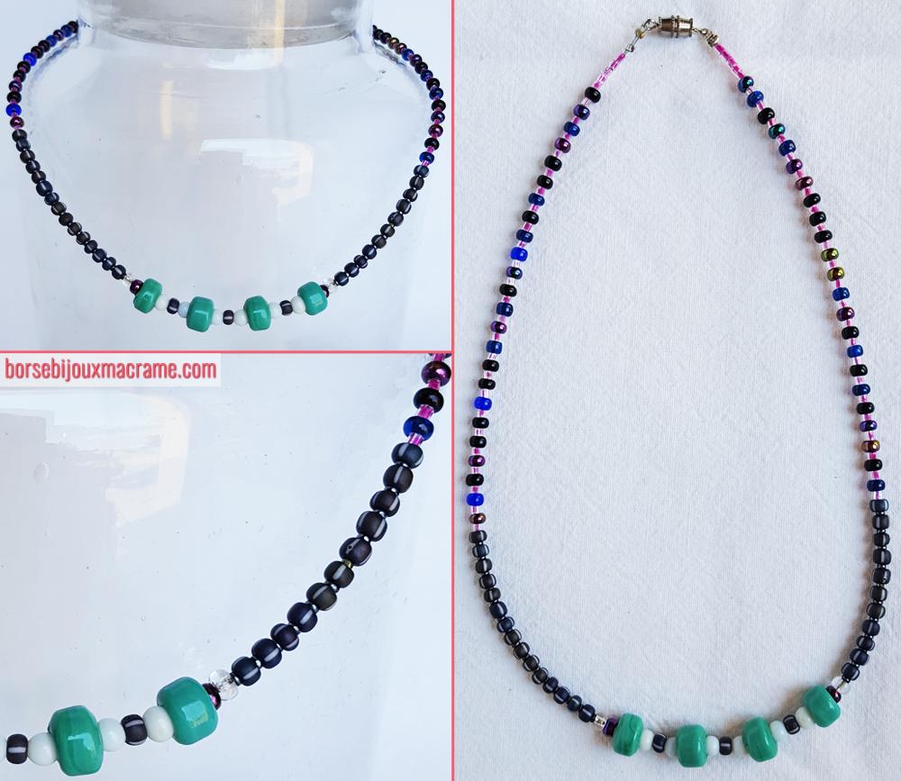 Collana di perline di diverse dimensioni in differenti tonalità di grigio, blu e rosa. Filo in acciaio rivestito in nylon. Chiusura a vite. www.borsebijouxmacrame.com