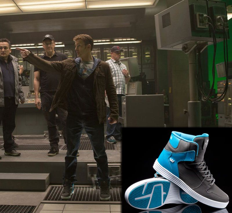 Captain America   Steve Rogers   Chris Evans is wearing a pair of Supra  Vaider  Satellite  high top sneakers during the superheroes promenade at  the Mall ... 80745e93c