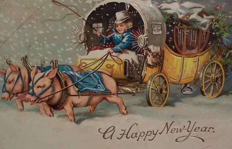 Открытки, антикварная открытка с новым годом