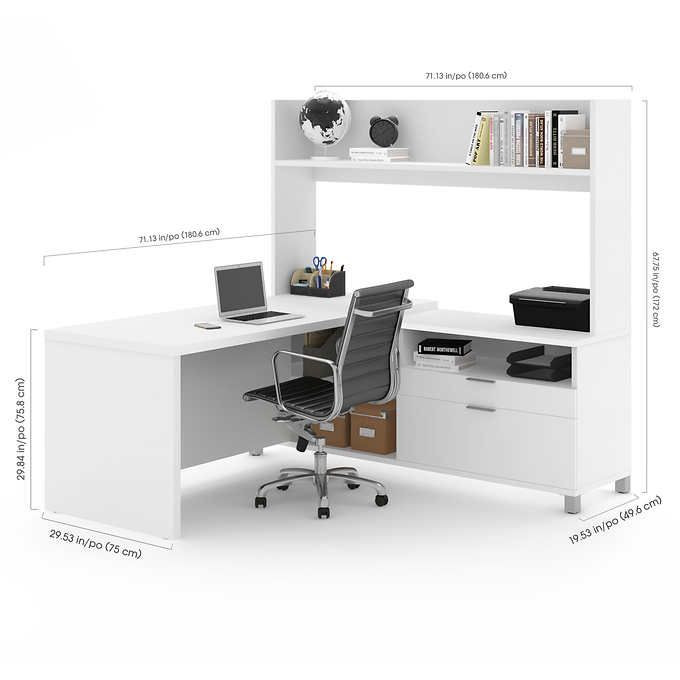 Lowest Price Online On All Bestar Pro Linea L Shaped Home Office Desk With  Hutch In White