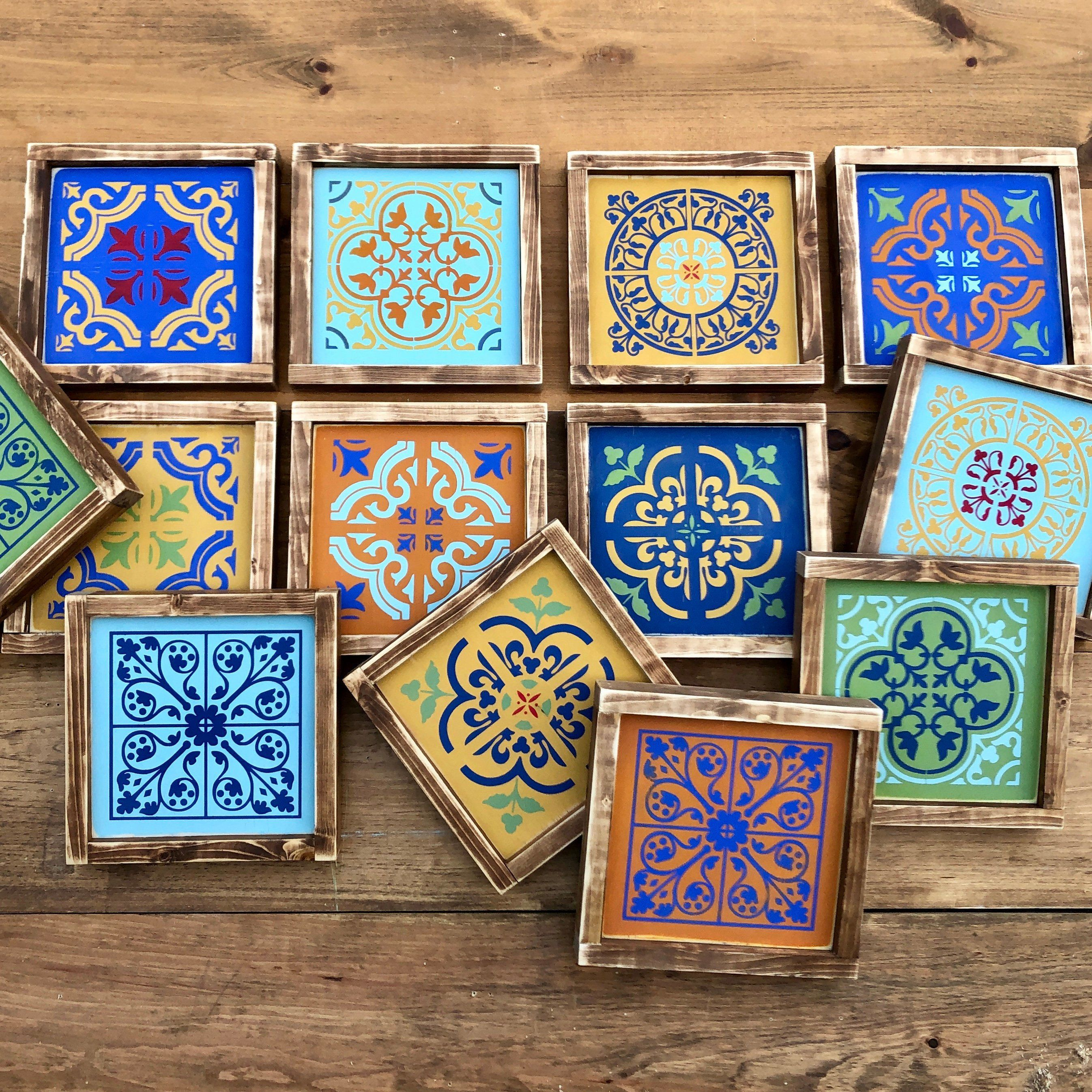 Custom Color Moroccan Tile Wall Art Moroccan Style Wood Sign Etsy Tile Wall Art Moroccan Style Moroccan Tile