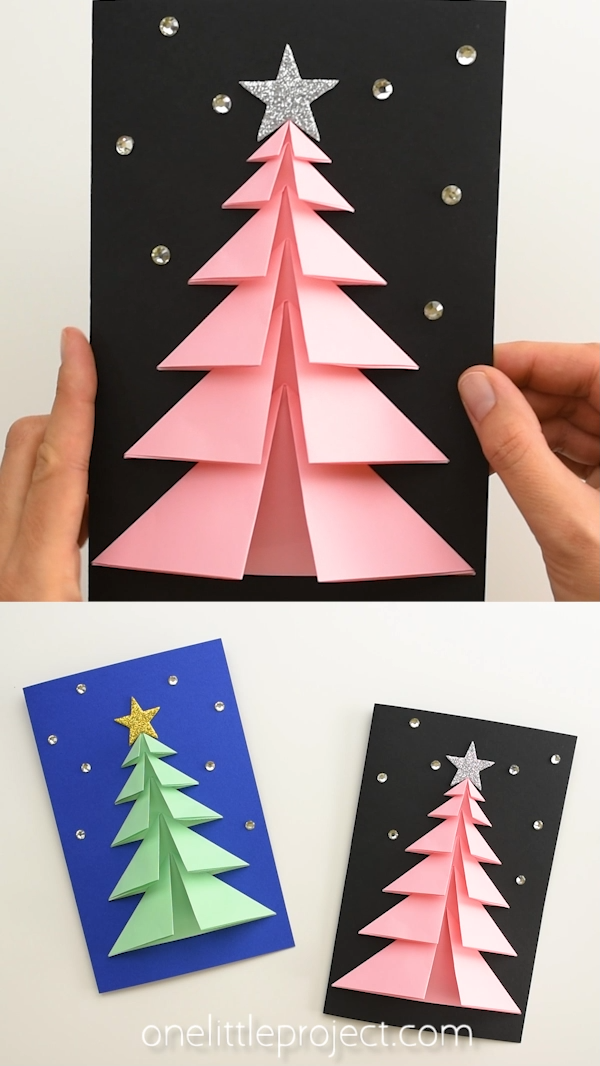 Photo of Easy 3D Paper Tree Christmas Cards