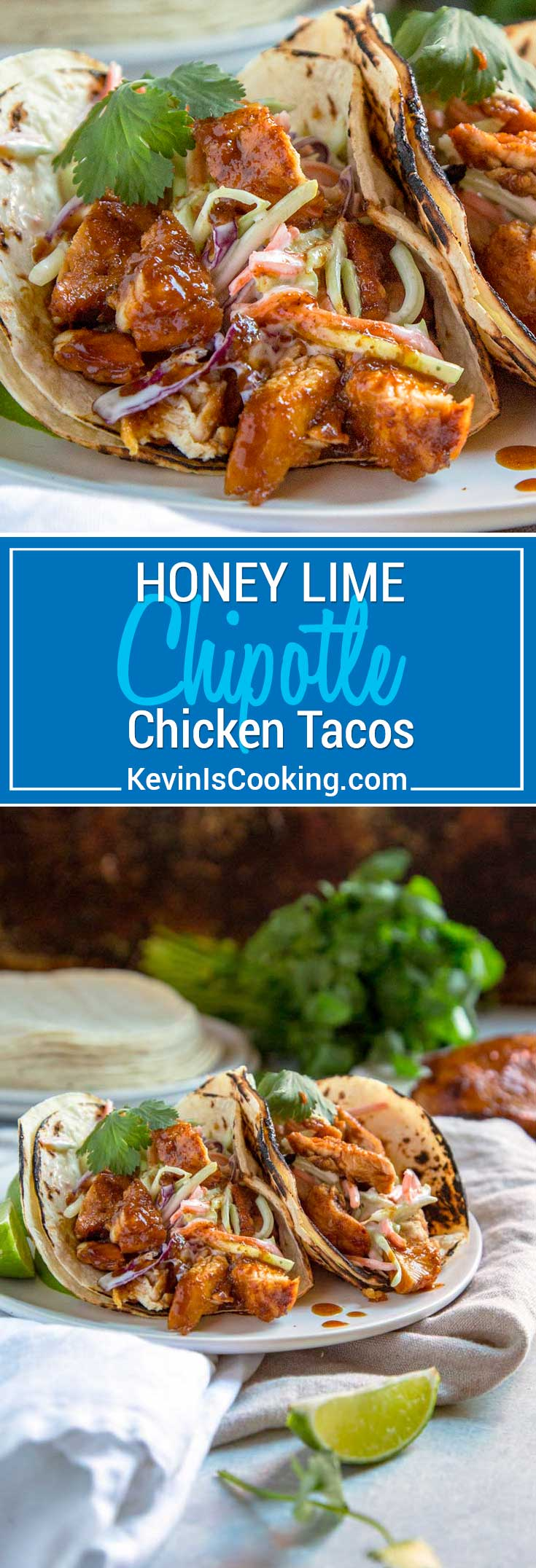 These Honey Lime Chipotle Chicken are a smash hit every time. Grilled or sautéed, the citrus marinade, warm spices, fresh herbs & honey make it a flavor explosion. With a Ranch Apple Slaw on top these are fantastic tacos. #tacos #chipotle #chicken #honeylimechicken