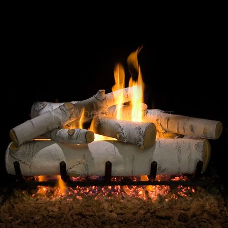 Sierra Birch See Through Vented Ceramic Gas Log Set Gas Log Sets Gas Logs Gas Fireplace Logs
