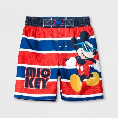 879ca1e6d6 Toddler Boys' Disney Mickey Mouse & Friends Mickey Mouse Swim Trunks -  Red/Blue 2T : Target