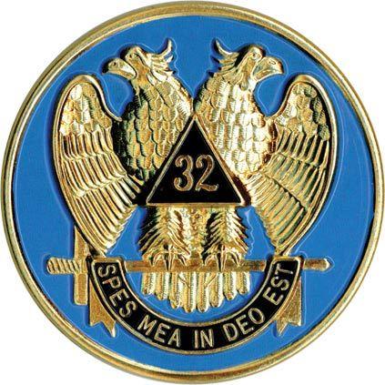 Freemasons Car Emblem Decal Scottish Rite 32nd Degree Wings Down Masonic Decal