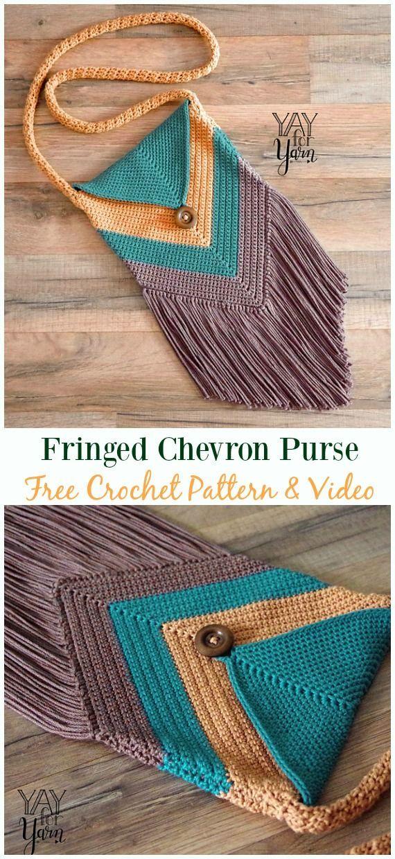 Fransen Chevron Geldbörse Free Häkelanleitung & Video – #Crochet #Handbag Free Pat #crochethandbags