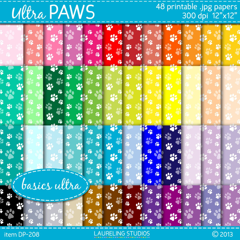 Scrapbook paper dogs - Paw Print Digital Paper In 48 Colors Dog Paw Print Pattern Pet Digital Scrapbook Supplies Digital Download Dp 208