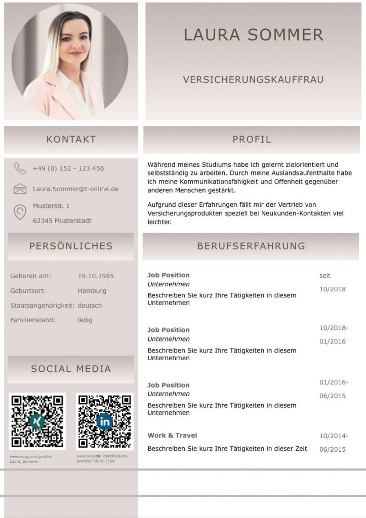 Perfekter Lebenslauf Mit Kurzprofil Und Socialmedia Qr Codes Perfekter Lebenslauf Bewerbung Lebenslauf Vorlage Lebenslauf