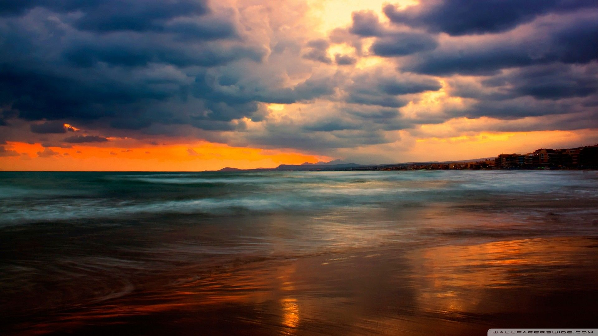 [ sunset clouds nature beach sea seascapes / 1920x1080