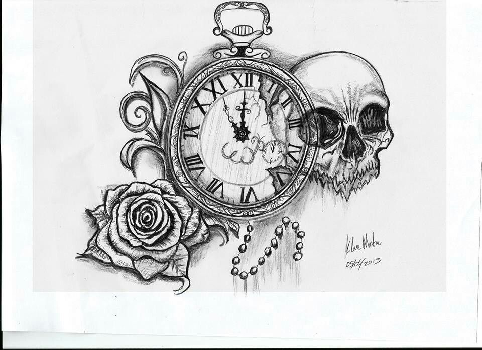 Taschenuhr bleistiftzeichnung  Skull, rose, pocket watch tattoo drawing | Ink | Pinterest
