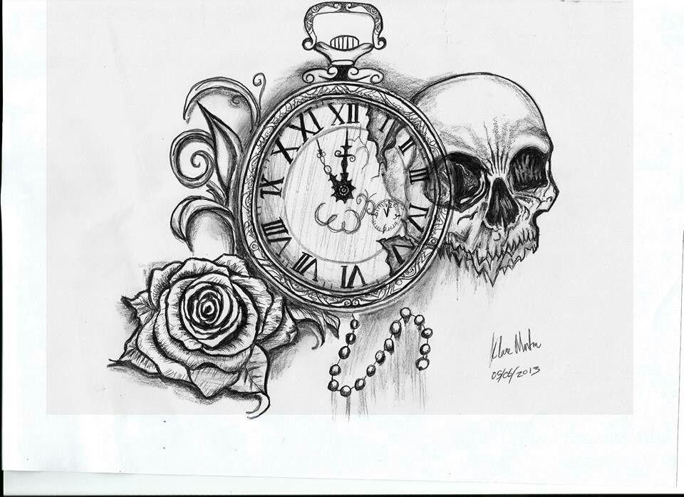 skull rose pocket watch tattoo drawing ink pinterest pocket watch tattoos watch tattoos. Black Bedroom Furniture Sets. Home Design Ideas