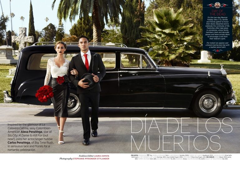 Actors Alexa & Carlos PenaVega in Cosmo for Latinas, Oct 2014. Fashion editor: Laura Zapata.