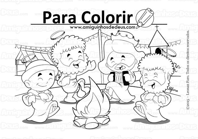 Festa Junina Amiguinhos De Deus Desenho Para Colorir Festa