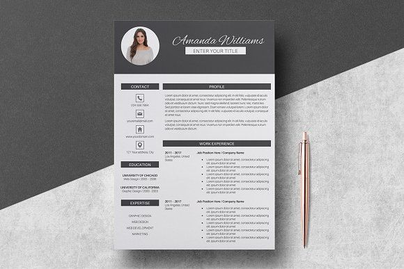 Resume Template  Amanda By Lucatheme On Creativemarket  Resume