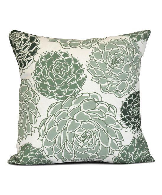 Green Olivia Flora  Throw Pillow
