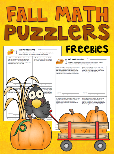 Corkboard Connections: Fall Math Word Problem Puzzlers
