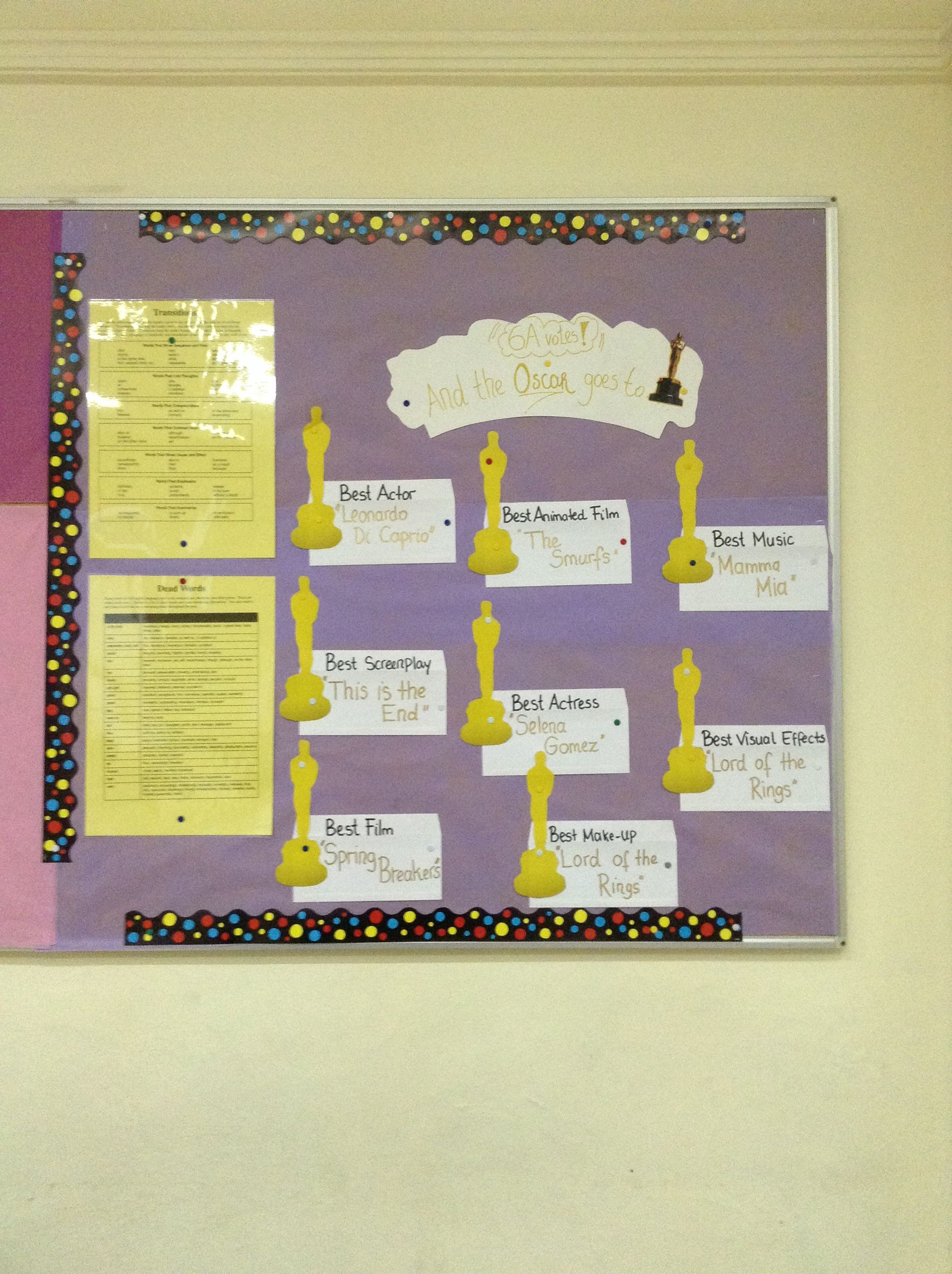 Bulletin Board idea related to the film industry and Oscars.