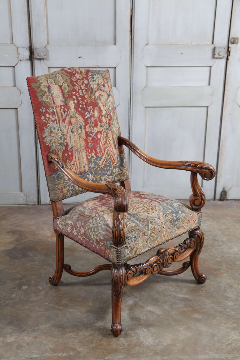 Antique louis xiv chair - Pair Of Antique Louis Xiv Tapestry Armchairs