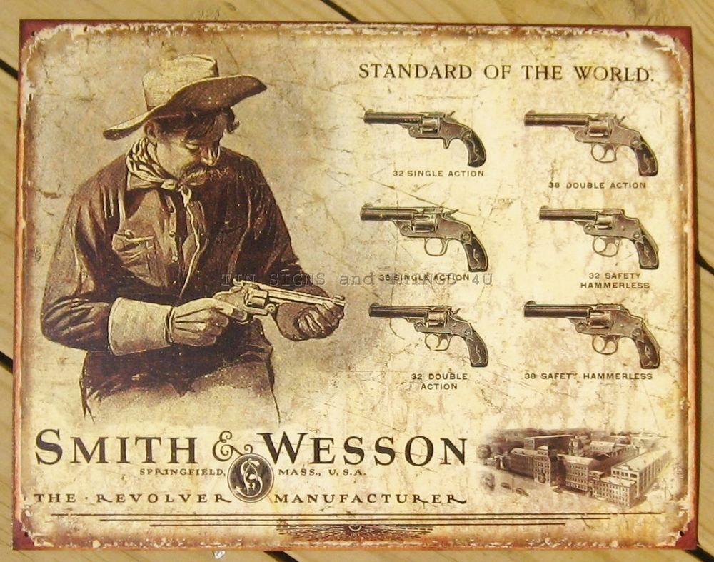 Square Metal Wall Decor Details About Smith Wesson Revolver Tin Sign Vtg Gun Western
