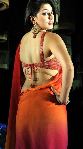 Hansika Motwani Hot Back Show In Saree  Saree Look, South -5407