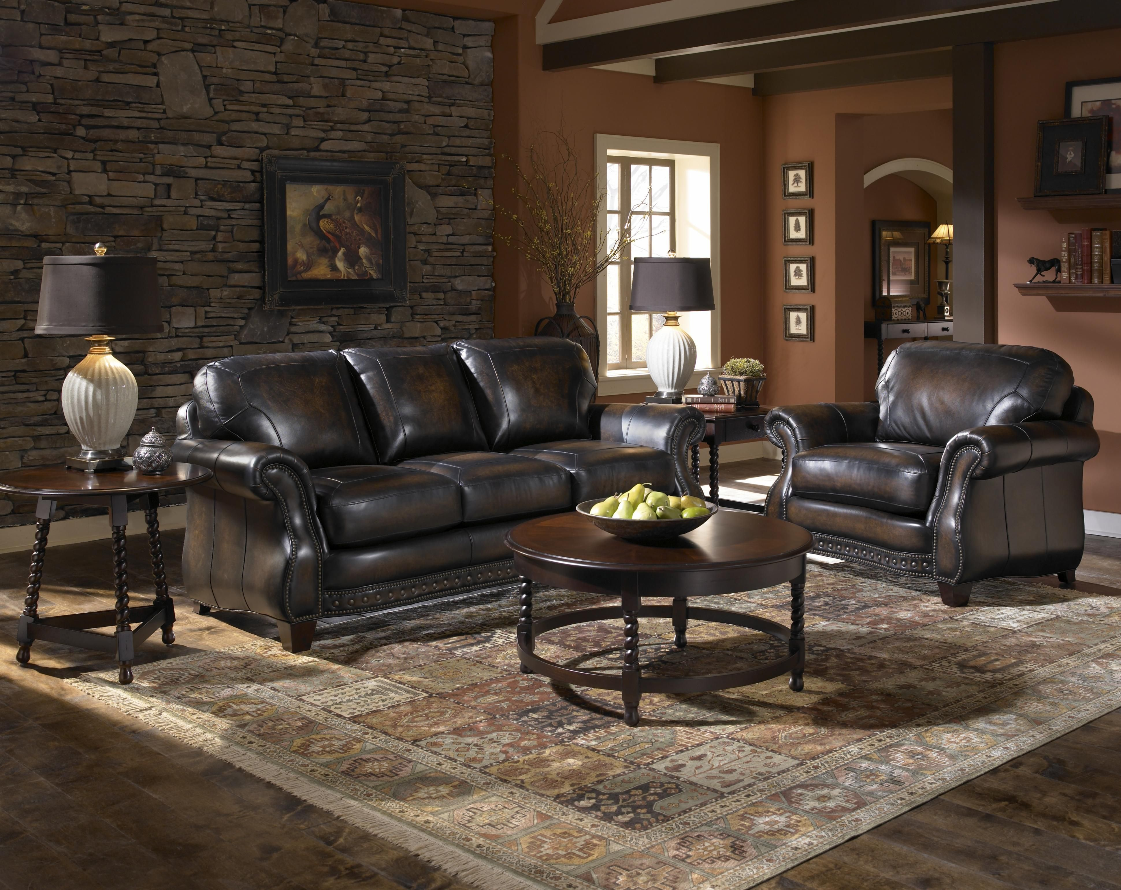 Broyhill Furniture: Stetson Collection Stationary Leather Sofa ...