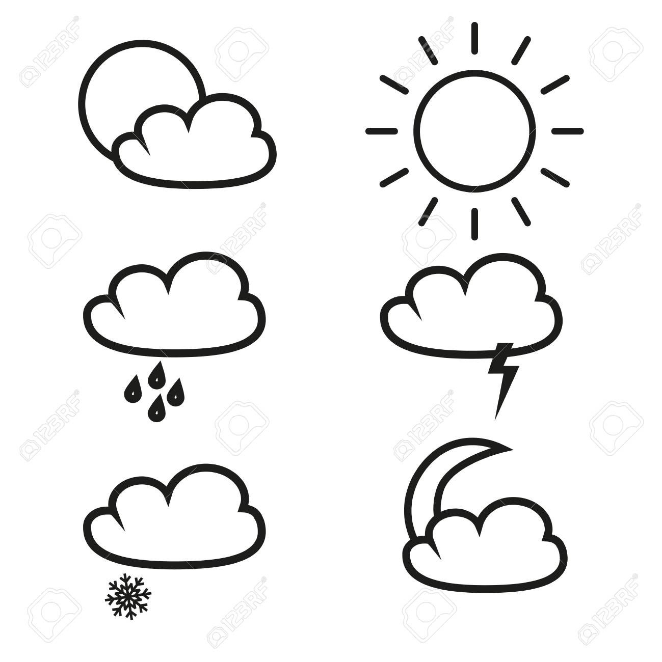 Weather icons on white background. , #SPONSORED, #icons, #Weather, #background, #white