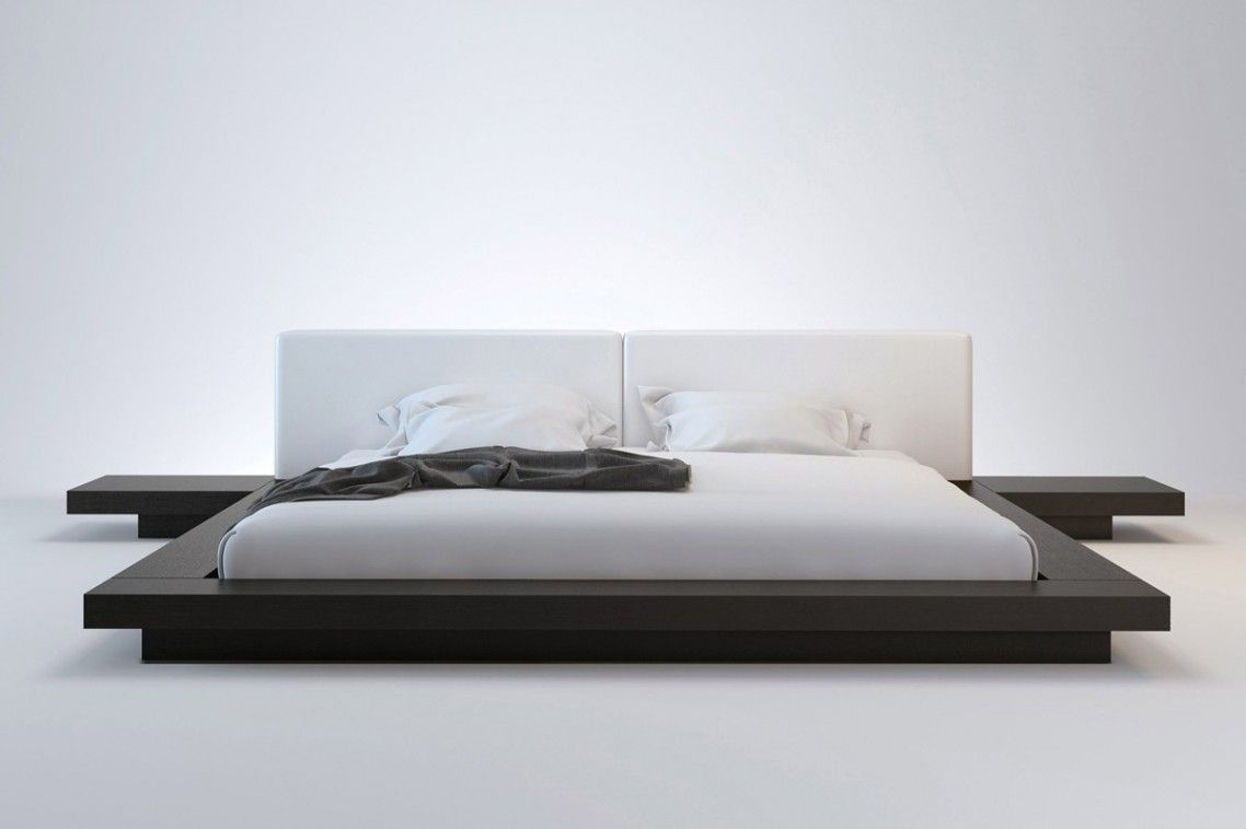 Contemporary Black Solid Wood Low Profile King Bed Frame Built In