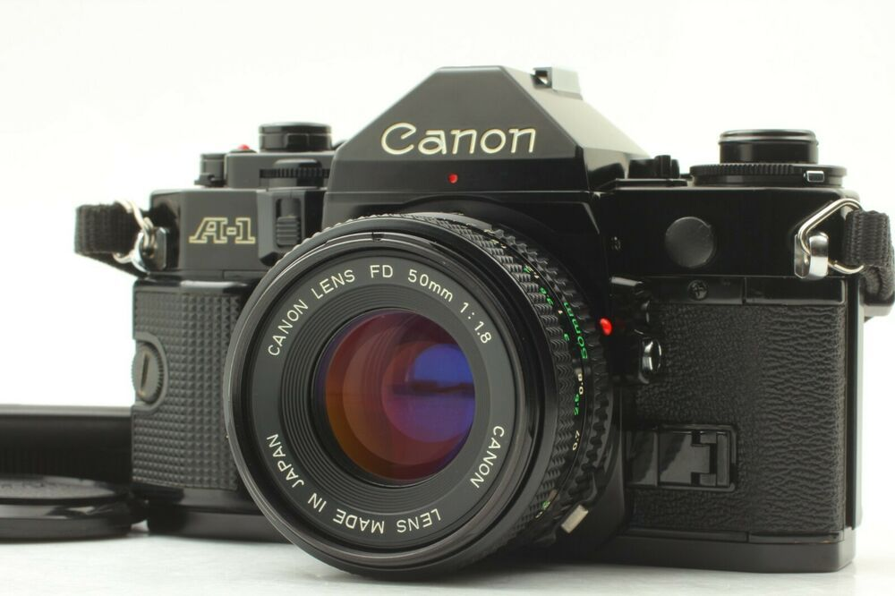 【MINT w/ Strap】Canon A-1 A1 Black SLR w/ New FD 50mm f/1.8 Lens From Japan #152 #Canon