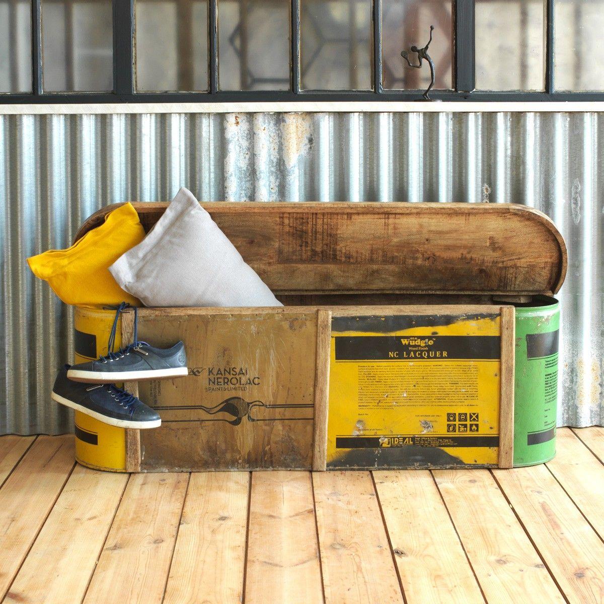 Banc coffre coloré bois et métal recyclé   Banc coffre