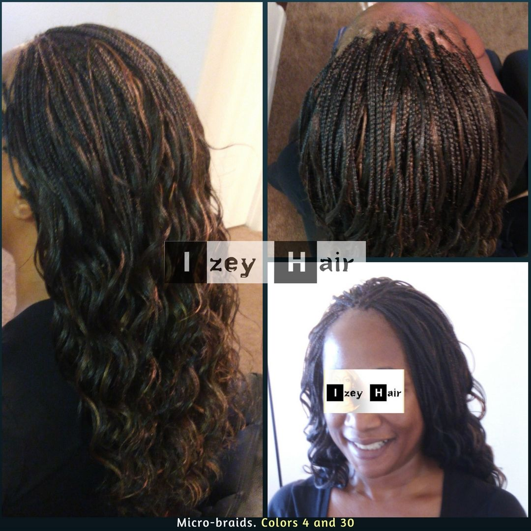 Micro Braids Colors 4 And 30 702 907 4939 Micros Microbraids Braids Braiding Hairbraiding Micro Braids Feed In Braids Ponytail Braids