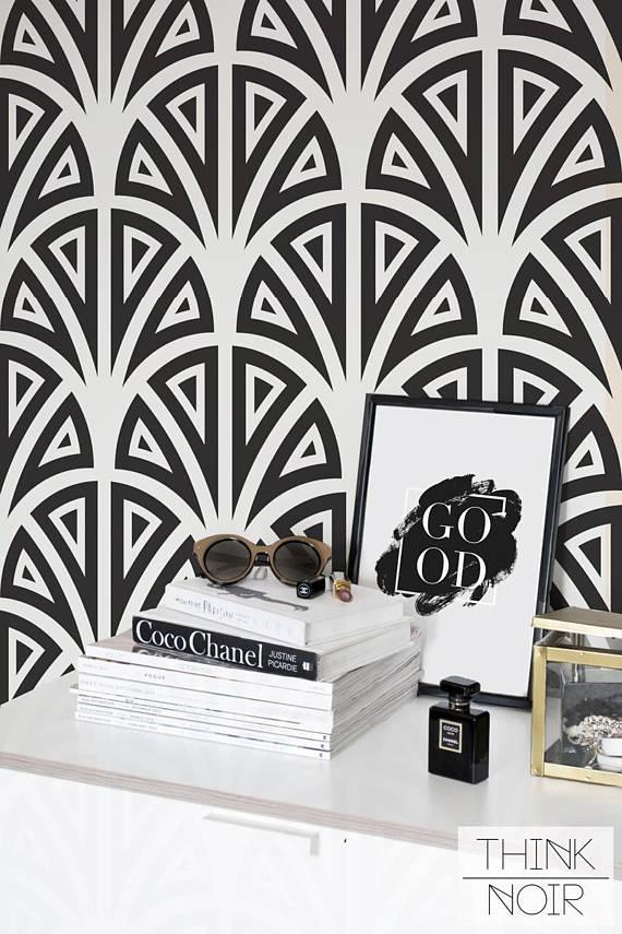 Art Deco Temporary Wallpaper  Self Adhesive or Regular Geometric Wallpaper  Art Deco Wall Mural  Wall sticker