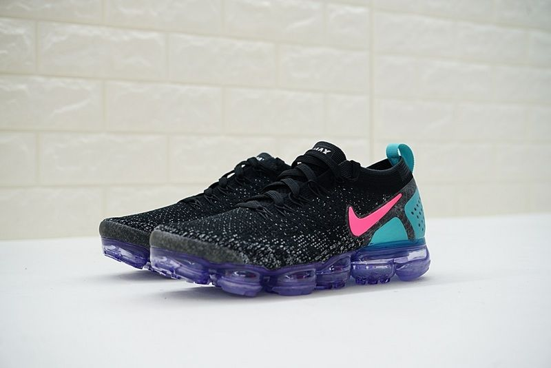 on sale 0e192 079a7 Nike Air VaporMax Flyknit 2 Running Shoe 2018 Spring Summer 942842-003 Coal  Black Pink Blue Purple