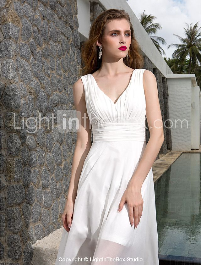 A Line V Neck Asymmetrical Georgette Wedding Dress With Ruche Side Draped By LAN TING BRIDER