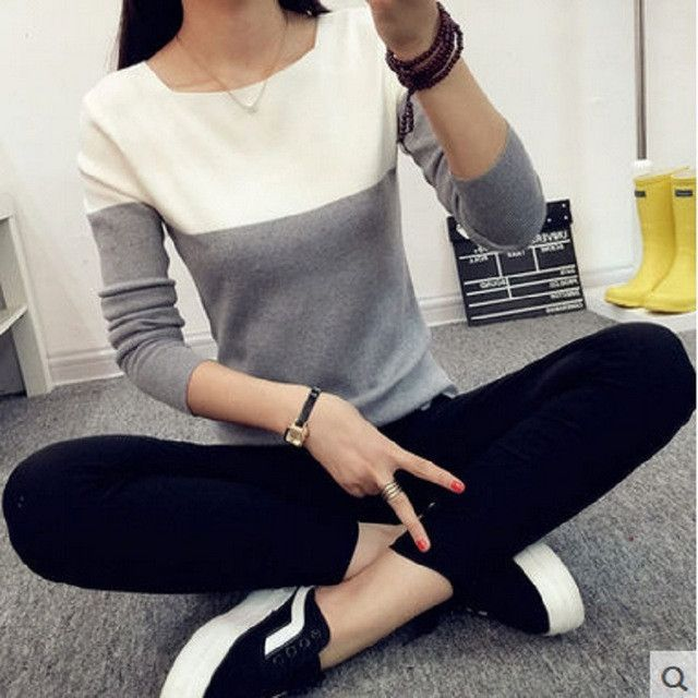 New 2016 Fashion Female Sweater Women Spring Knitted Pullovers Long Sleeve Slim Knitwear Summer Style Knitted Jumper