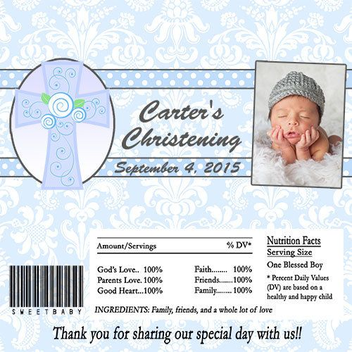 Christening Baptism Candy Bar Wrapper Party Favor Digital or Printed FREE SHIPPING Blue by PartiesR4Fun on Etsy