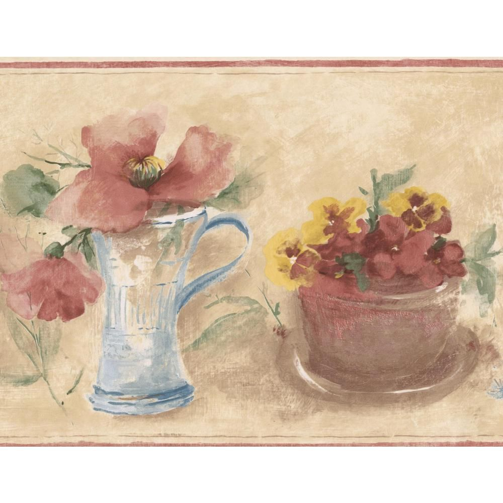 Norwall Pink Yellow Blue Flowers in Pot Vase Beige Floral Prepasted Wallpaper Border OA72854 #blueflowerwallpaper