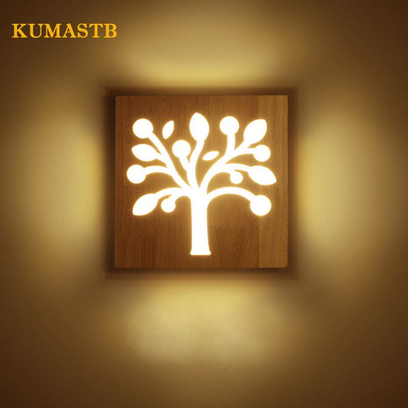 Creative Solid Wood Wall Lamp Modern Simple Living Room Corridor ...