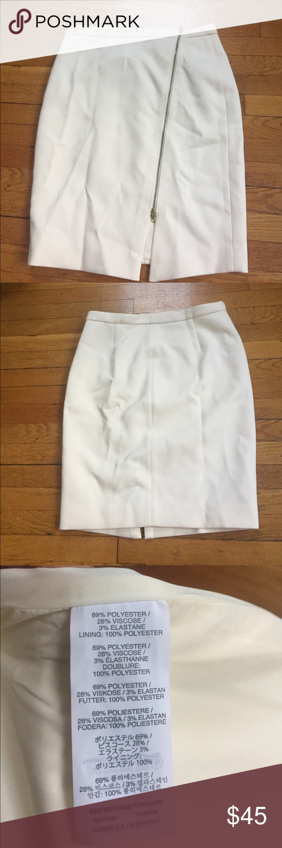 J.Crew Pencil Skirt - Off White Zip Pencil Skirt in Off White. Never Worn. Will be mailed in original packaging. Size 12. Zipper in the front. Very stylish. J. Crew Skirts Pencil