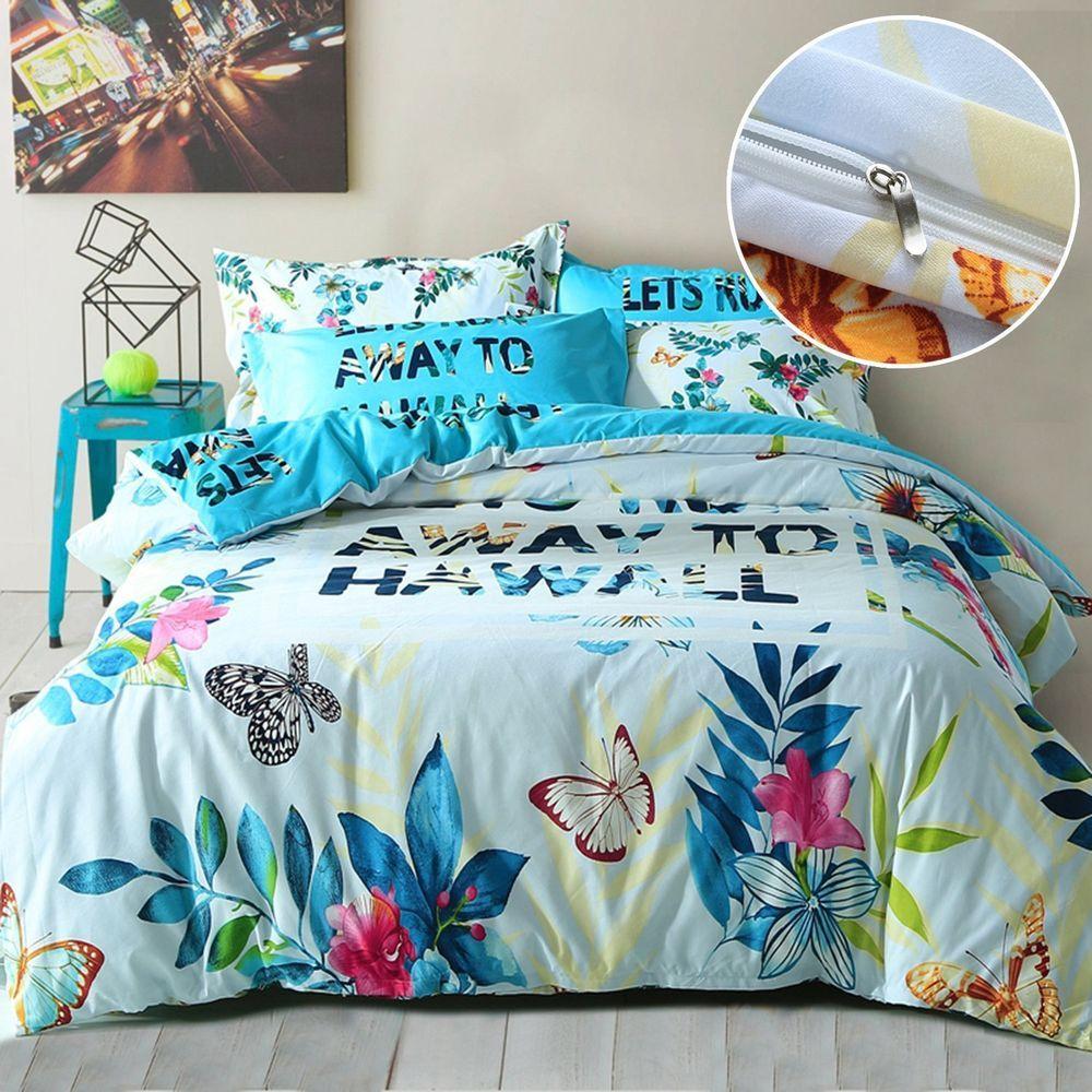 Summer Hawaii Duvet Cover Pillowcase Reversible Tropical Bedding