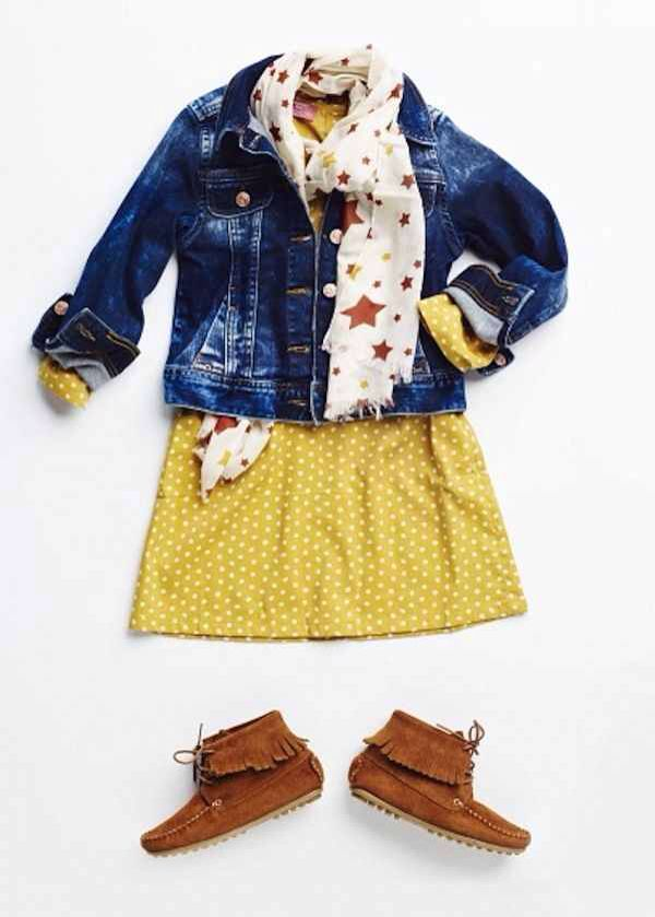 One of my favorite colors for autumn mustard yellow this dress looks super cute paired with the jean jacket and scarf