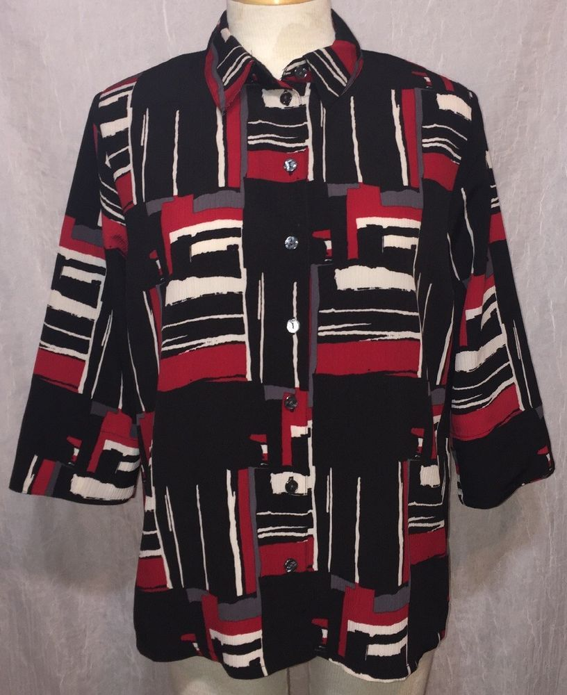 ce538abf10e ALIA Size 12P Petite Red Black & White Blouse 3/4 sleeve Button Front Shirt  Top #Alia #Blouse #Casual