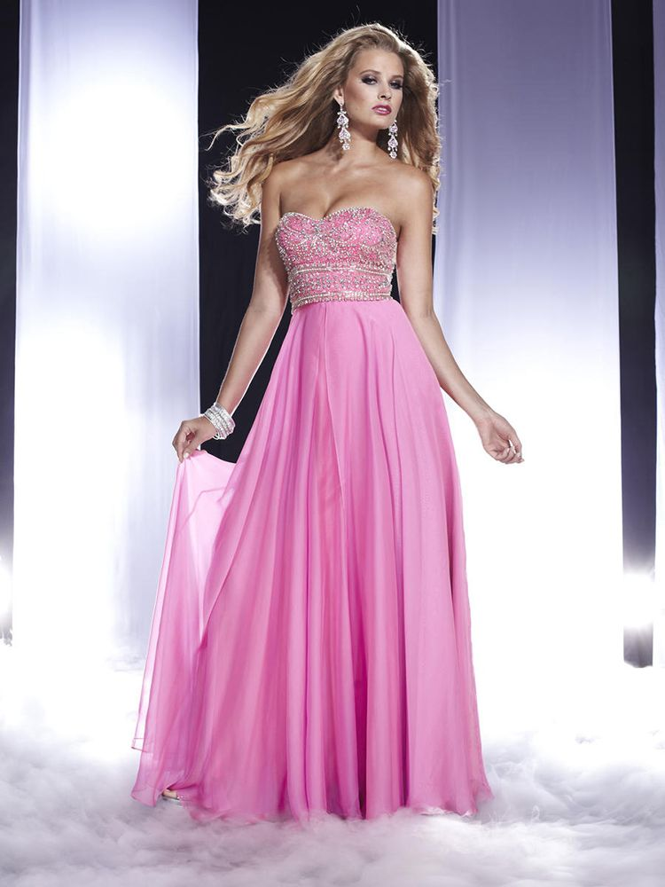 A-line Sweetheart Chiffon Floor-length Pink Beading Prom Dresses at ...