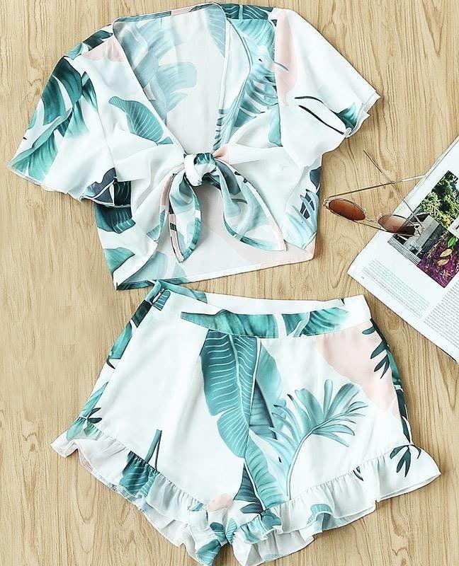16138c253494ea Conjunto Estampa de Folhagens - Ref.110 | Clothes | Roupa tropical ...