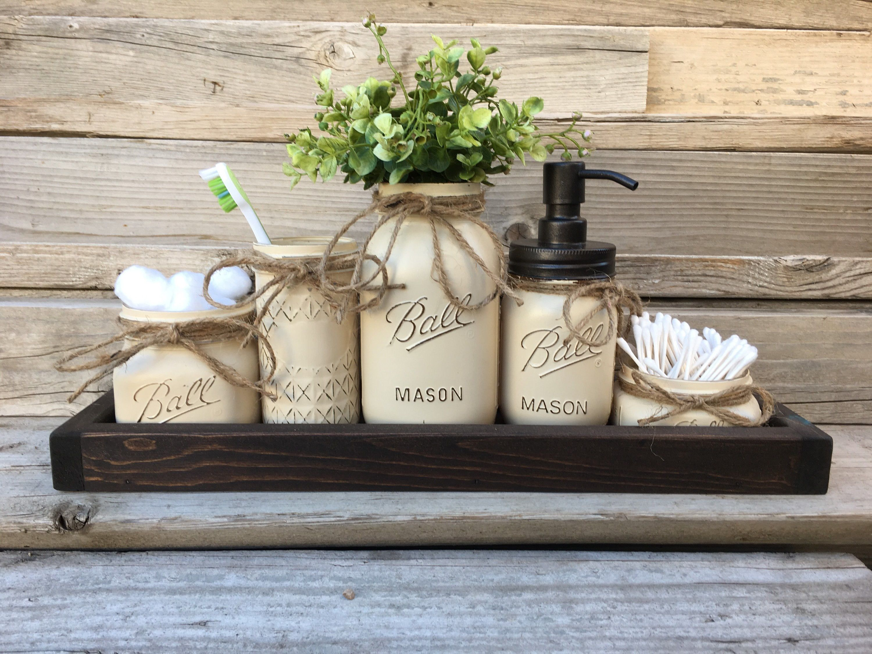 Rustic Bathroom Decor Mason Jar Bathroom Set Bronze Oil Etsy Mason Jar Bathroom Farmhouse Bathroom Accessories Rustic Bathroom Decor