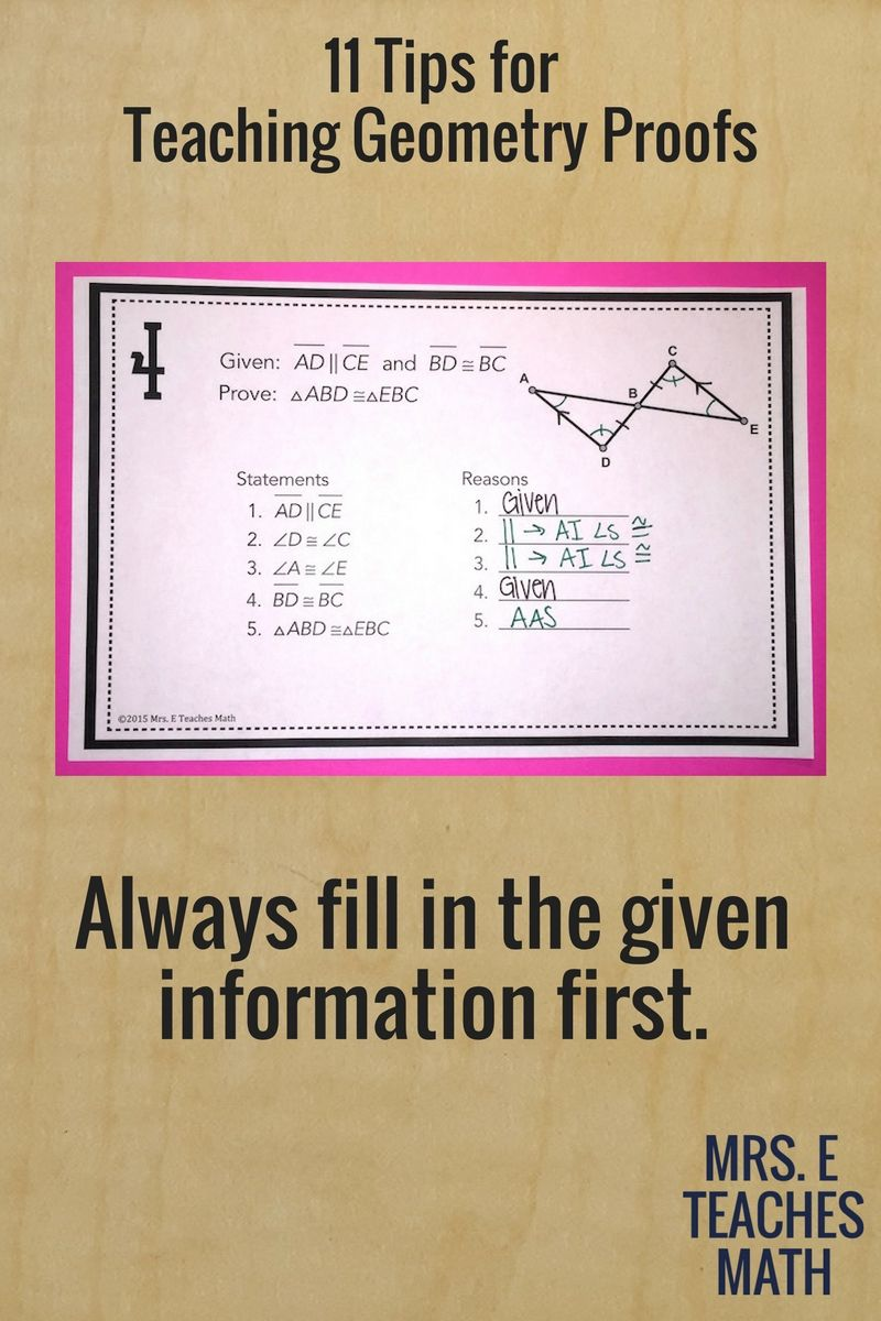 11 Tips For Teaching Geometry Proofs Geometry Proofs