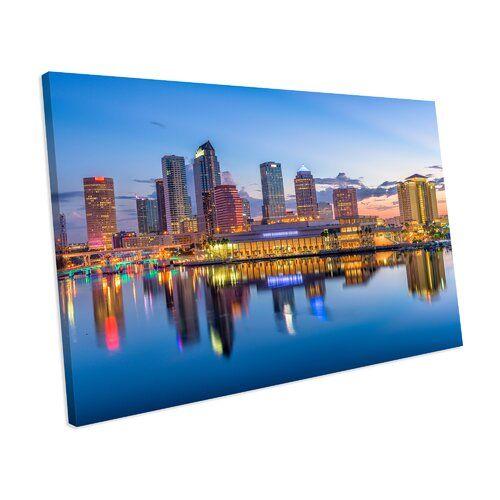 Photo of Canvas Art Tampa Florida Skyline ModernMoments Size: 82 cm H x 128 cm W