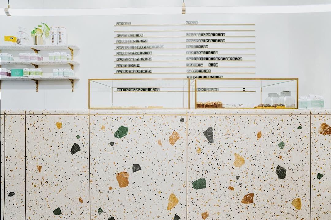 Five Elephant Bar In Berlin Terrazzo Bar Interior Design Terrazzo Tea Store Design